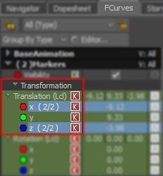 Select Translation XZ Curves